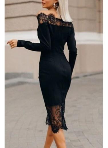 BLACK&GRACE Kadın Siyah Alt Üst Dantel Detaylı Kalem Elbise Siyah